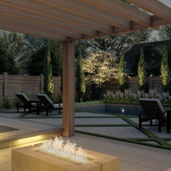 landscape design and build with fire feature