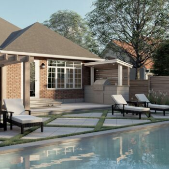 landscape design and build with outdoor kitchen
