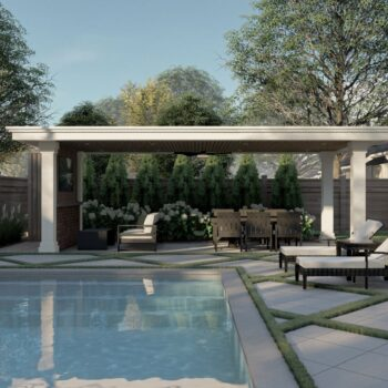 landscape design and build with inground pool and cabana