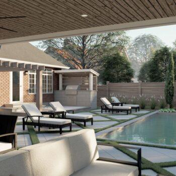 beautiful rendering of backyard landscape design