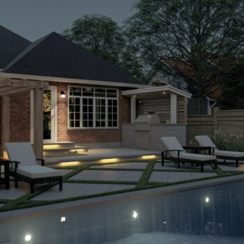 backyard 3d render with outdoor kitchen and patio