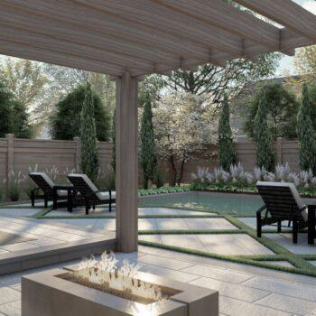 3d render of fire feature in backyard landscape
