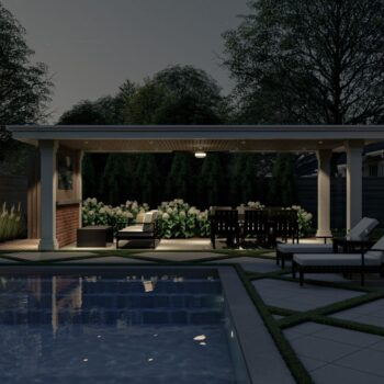 3d render of backyard with large cabana