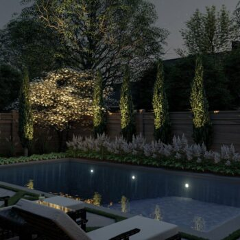 3d render of inground pool and backyard softscape
