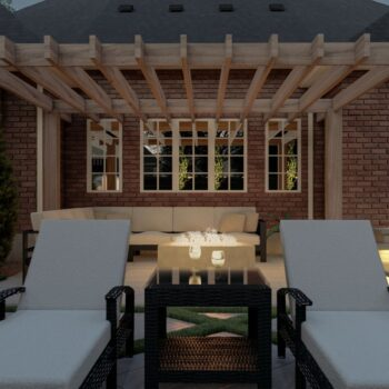3d render of backyard with fire feature and pergola