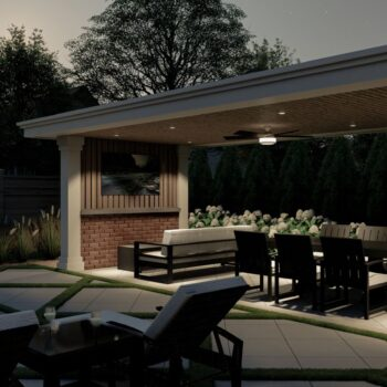 3d render of backyard with dining area and cabana
