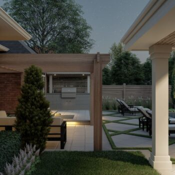 landscape design and build with pergola and cabana