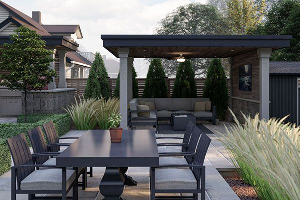 cabana and patio landscape render design