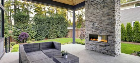 fire feature on backyard patio