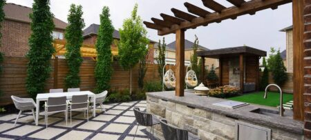 outdoor kitchen design with patio and cabana