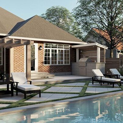 backyard patio render for hardscaping company