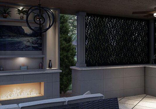 inside view of pergola with privacy screen landscape design